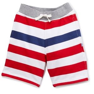 •Red & Navy Stripe Jersey Shorts